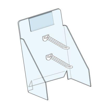 ESPOSITORE TRASPARENTE 200x450mm 2 Ganci Espositore in PETG 200x450mm  con 2 gancio in plastica bianc