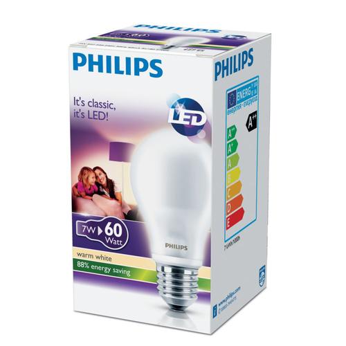 PHILIPS LAMPADA LED 60W GOCCIA CLASSIC 7-60W 2700K E27 Goccia  A60 smerigliata,  luce calda
