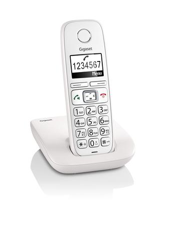 GIGASET TELEF. CORDLESS E260 BIANCO VIVA tasti e numeri grandi, display alfanumerico, suon. polifonic