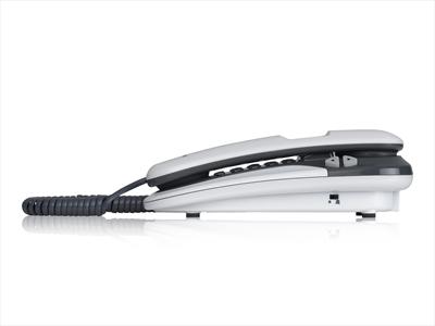 BRONDI TELEF. FILO KENOBY CID BIANCO/GRI Telefono a filo da tavolo, a gondola c/display, Bianco/Grigi