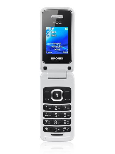 "BRONDI CELLULARE FOX BIANCO Display 1.77\"", GSM, Flip Attivo, Dual SIM, 1.3 MpX, Radio FM"