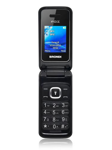 "BRONDI CELLULARE FOX NERO Display 1.77\"", GSM, Flip Attivo, Dual SIM, 1.3 MpX, Radio FM"