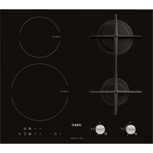 AEG PIANO COTTURA HD 63417 ONB 60 cm - 2 bruciatori gas + 2 zone cottura induzione - Accens