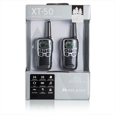 MIDLAND COPPIA RICETRASM. XT-50 PMR446 8+16ch, batterie ric. via USB autonomia 12 ore - 8km