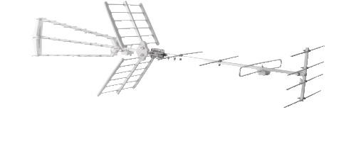 GBS ANTENNA DTT COMBI VHF + UHF - LTE direttiva VHF+UHF attacco F - 4+28 elementi - 10/16 dB, LTE