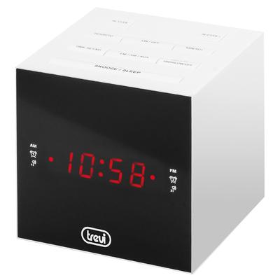 "TREVI RADIOSV. RC 855C AM/FM CUBO BIANCA Display 0.6\"", funzioni Sllep e Snooze, 20 staz. doppia alime"