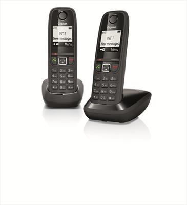 GIGASET TELEF. CORDLESS AS405 DUO NERO vivavoce, display illuminato,100mem, 4 portat. collegabili