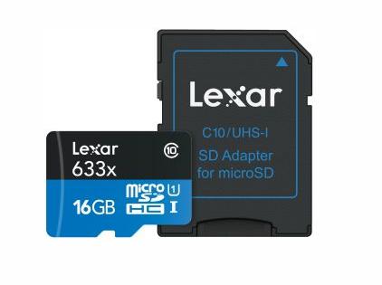 LEXAR MEMORIA MICRO SD 16GB HC 633X 16GB microSDHC 633X CL.10 UHS-I+ADAPTER