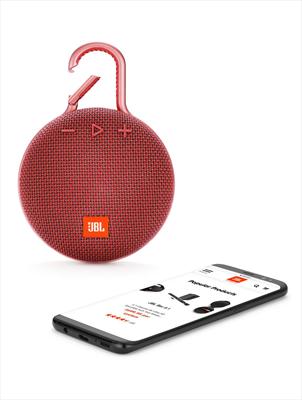 JBL DIFFUSORE CLIP 3 WIRELESS RED speacker wireless Bluetooth, Waterproof IPX7