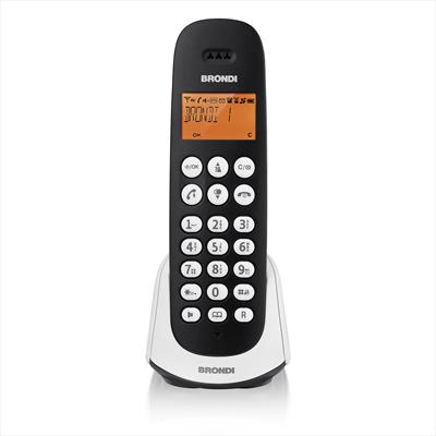 BRONDI TELEF. CORDLESS ADARA NERO/BIANCO DECT GAP (fino a 4 portatil) Vivavoce, Display illuminato