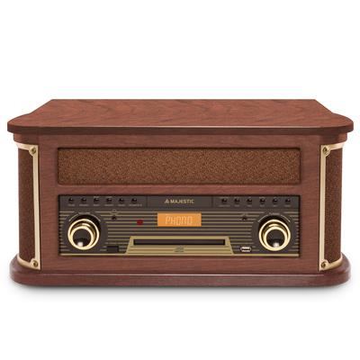 NEW MAJESTIC HIFI TT47 DAB GIRADISCHI Giradischi, Cassetta, CD/MP3,SD,USB encod., Bluetooth, Legno