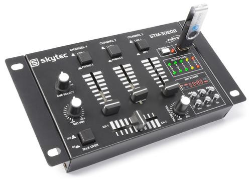 GBC MINI DJ MIXER 3 CANALI USB MP3 3 Canali Stereo (2 Ingressi Phono/Line, 1 CD, e 2 Microfonic