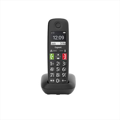"""GIGASET TELEF. CORDLESS E290 ITA BLACK tasti e numeri grandi, display 2\"""" alfanumerico, Vivavoce"""