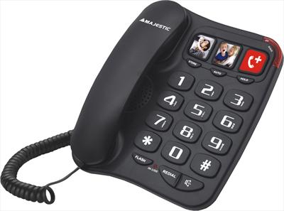 NEW MAJESTIC TELEFONO PHF-BILLY201 BLACK TELEFONO A FILO, 3 MEMORIE, VIVAVOCE
