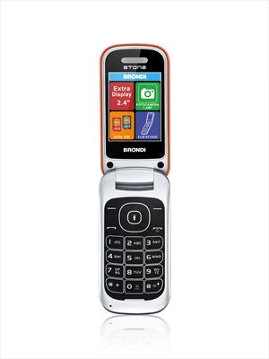 "BRONDI CELLULARE STONE ARANCIO Display 2.4\"", GSM quadri band, Flip Attivo, 1.3MP LED FLASH"