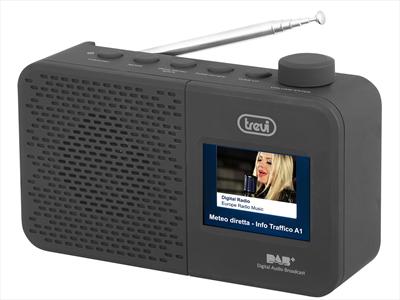 "TREVI RADIO DAB 795 R NERA radio DAB, DAB+,FM, Display 2.4\"" a colori, doppia alimentazi"