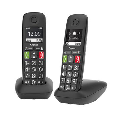 "GIGASET TELEF. CORDLESS E290 DUO BLACK tasti e numeri grandi, display 2\"" alfanumerico, Vivavoce"