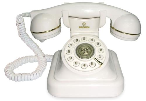 BRONDI TELEF. FILO VINTAGE 20 BIANCO Telefono a filo linea retro' , cavi in tessuto