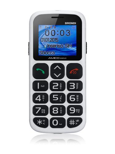 BRONDI CELLULARE AMICO SEMPLICE+ BIANCO cellulare gsm easy phone-TASTI GRANDI