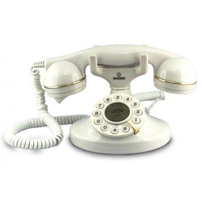 BRONDI TELEF. FILO VINTAGE 10 BIANCO Telefono a filo linea retro' , cavi in tessuto