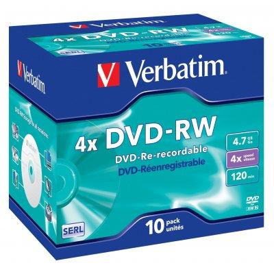 VERBATIM DVD-RW 4,7GB SINGOLO JC 43285 43285, 4x ,  120min.   singolo Jewel Case