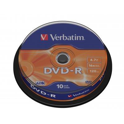 VERBATIM DVD-R 4,7GB SPINDLE 10pz 43523 43523, 16x ,  120min.   spindle 10pz